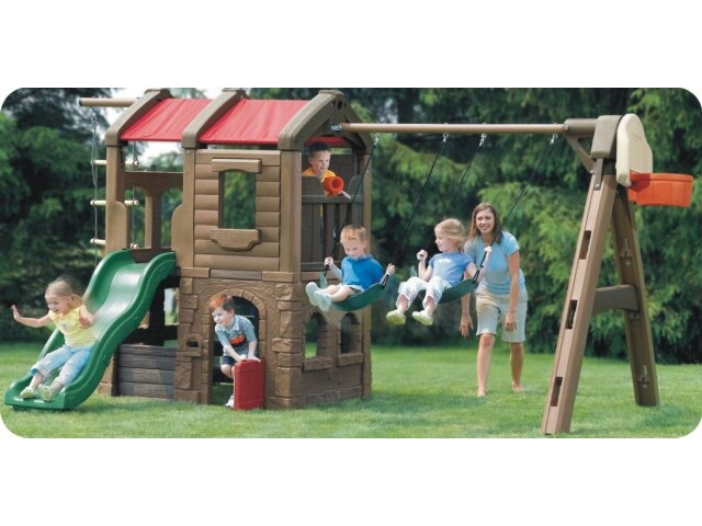Delicieux Kids Backyard Plastic Playground With Outlook Play Tower, Swing Sets And  Slide