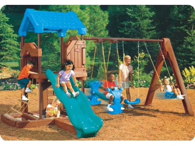 Backyard Plastic Playground Sets With OutlookTower, Swing Sets And Slide